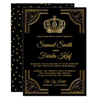 Elegant Black Gold Ornate Crown Wedding Invitation