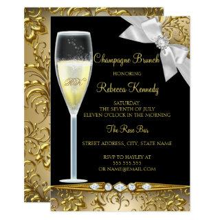 Elegant Black Gold White Champagne Brunch Invite