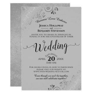Elegant Black on Gray Wedding Livestream Invitations