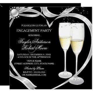 Elegant Black Silver & Gold Engagement Party Invitations