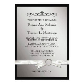 Elegant Black Silver Ribbon Wedding Invitations
