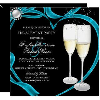 Elegant Black Silver & Teal Engagement Party Invitation