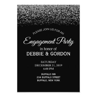 Elegant Black & White Diamond Wedding Engagement Invitation