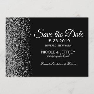 Elegant Black & White Diamond Wedding Save Date Save The Date