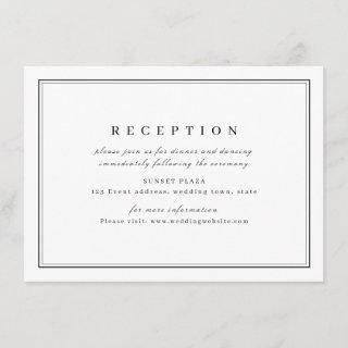Elegant black white minimalist wedding reception enclosure card