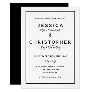 Elegant Black & White Typography Modern Minimalist Invitations
