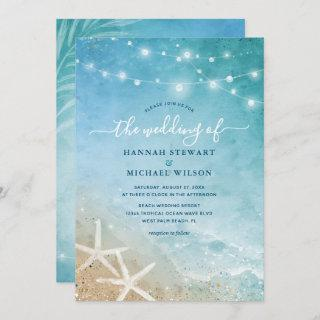 Elegant Blue and Teal Watercolor Beach Wedding Invitations