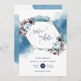 Elegant Blue Celestial Blooms, Any Event Save The Date