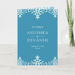 Elegant Blue Damask Traditional Indian Wedding Invitation