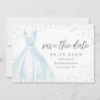 Elegant blue dress save the date quinceanera