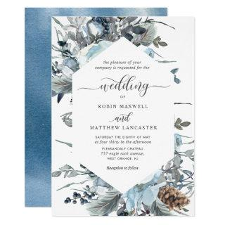 Elegant Blue Floral Geometrical Wedding Invitation