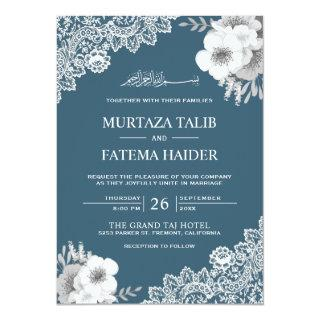 Elegant Blue Floral Lace Islamic Muslim Wedding Invitation
