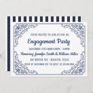 Elegant Blue flourish swirl frame engagement party Invitation