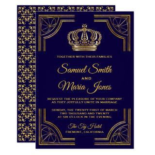Elegant Blue Gold Ornate Crown Wedding Invitations
