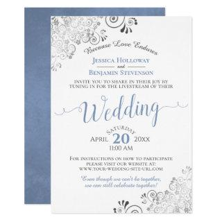 Elegant Blue & Gray on White Wedding Livestream Invitations
