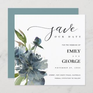 ELEGANT BLUE GREEN GOLD FLORAL SAVE THE DATE CARD