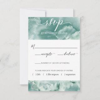 Elegant Blue/Green Watercolor With Meal Options RSVP Card