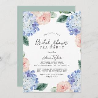 Elegant Blue Hydrangea Bridal Shower Tea Party Invitations