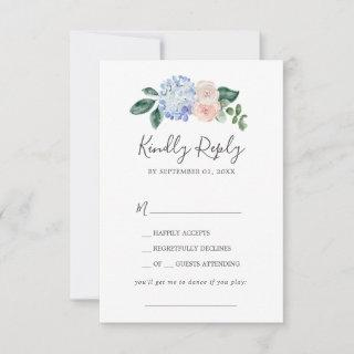 Elegant Blue Hydrangea Song Request RSVP Card