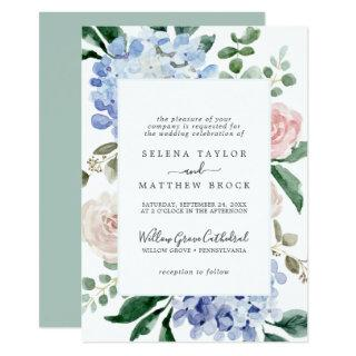 Elegant Blue Hydrangea | White Formal Wedding Invitations