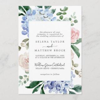 Elegant Blue Hydrangea | White Formal Wedding Invitation