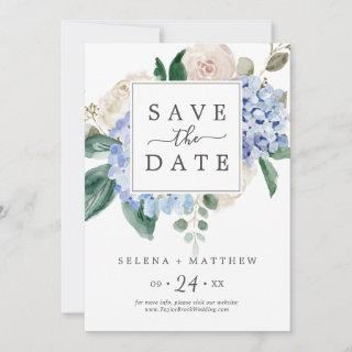 Elegant Blue Hydrangea | White Save the Date Card