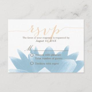 Elegant Blue Lotus Floral Wedding RSVP Rsponse