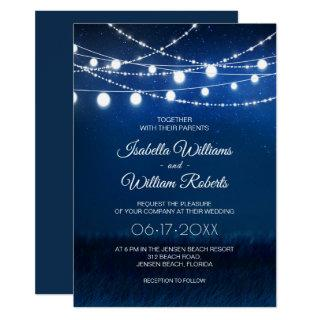 Elegant Blue Night & Silver String Lights Wedding Invitation