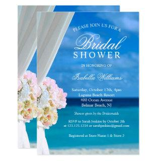 Elegant Blue Ocean Beach Bridal Shower Invitations