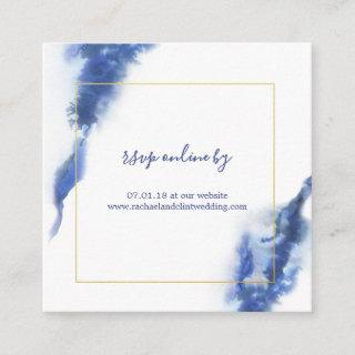 Elegant Blue Ombre Marble Wedding RSVP Cards