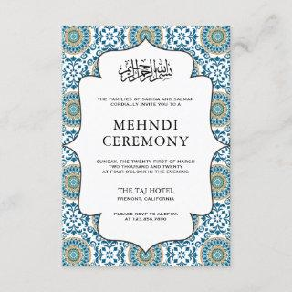 Elegant Blue Persian Mosaic Islamic Muslim Mehndi Enclosure Card