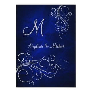 Elegant Blue Silver Monogram Wedding Invitation