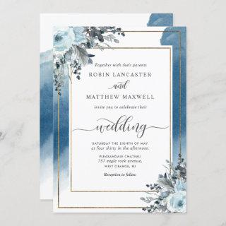 Elegant Blue Watercolor and Blue Floral Wedding
