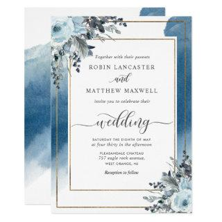 Elegant Blue Watercolor and Blue Floral Wedding Invitations