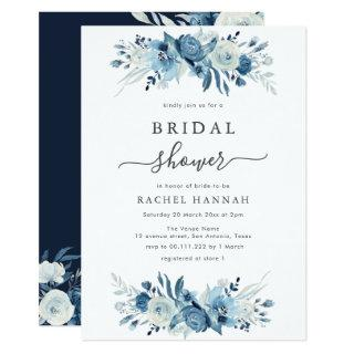 Elegant blue watercolor floral bridal shower invitation
