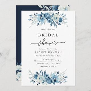 Elegant blue watercolor floral bridal shower Invitations
