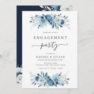 Elegant blue watercolor floral engagement party Invitations