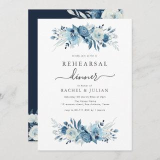Elegant blue watercolor floral rehearsal dinner Invitations