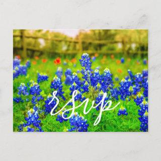 Elegant Bluebonnets Spring Wedding RSVP Enclosure Invitation Postcard