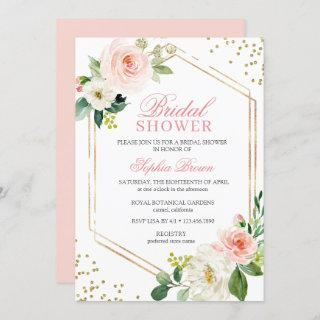 Elegant Blush Gold Floral Bridal Shower Brunch Invitation