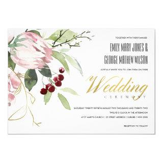 ELEGANT BLUSH PINK BURGUNDY PROTEA FLORAL WEDDING Invitations
