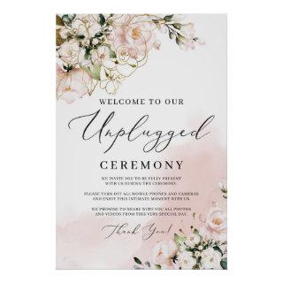 Elegant blush pink floral unplugged ceremony sign