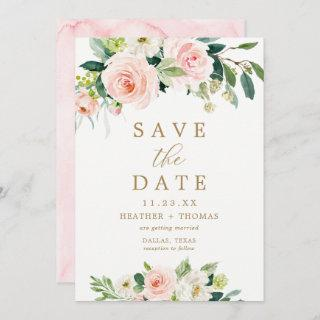Elegant Blush Watercolor Save the Date Cards