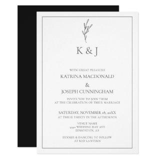 Elegant Border Monogram Casual Wording Minimalist Invitation