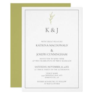 Elegant Border Monogram sage green Leaf Minimalist Invitations