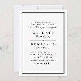 Elegant borders black and white minimalist wedding invitation