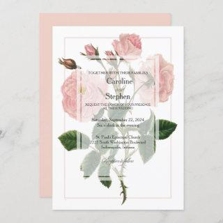Elegant Botanical Soft Pink Rose Wedding Invitation