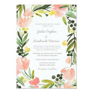 Elegant Botanical Watercolor Floral Wedding Invitations