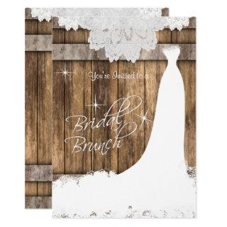 Elegant Bridal Brunch in Rustic Wood and Lace Invitations