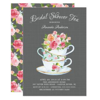 Elegant Bridal Shower Tea Invitation